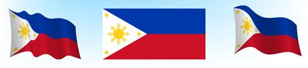 Flag of the Republic of the Philippines in a static position and in motion, developing in the wind, on a white background
