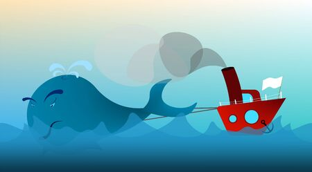fishing boat, trawler in the open sea drags a whale. The extermination of animals. Prohibited fishing. Illustration in cartoon style, vector