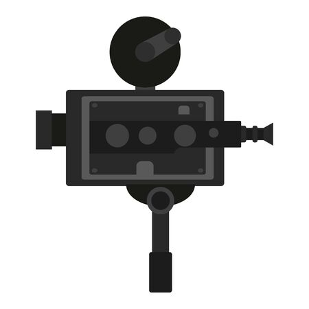 Old vintage portable camcorder. Filming a movie on retro instrument. Film recording of a movie. Isolated vector on white background Ilustração