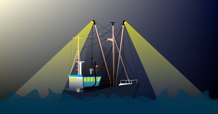 fishing boat, trawler at night on the high seas produces fish. Stormy weather, waves. Color illustration, vector