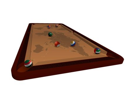 pool table with billiard balls in the form