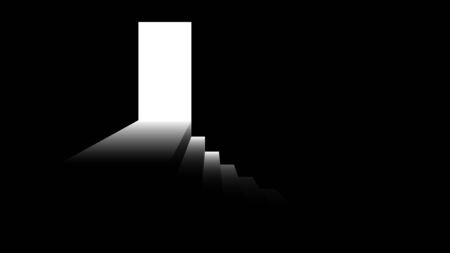 Light from the doorway. Step down from the door. Black and white illustration on the theme of fear or success. Vector