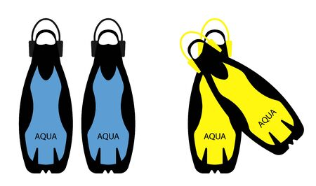 scuba diving flippers. Part of the ammunition. Isolated vector on white background in a flat style Illustration