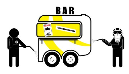 van, bar on wheels closed and undergoes disinfection. Illustration in a linear style. Isolated vector on white background