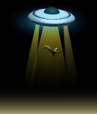 alien spaceship. A flying saucer abducts a person at night. Illustration, vector Vektorgrafik