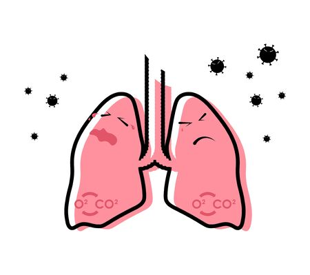 colored icon, bacteria and viruses attack the lungs and respiratory organs. The importance of disease prevention. Isolated vector on white background