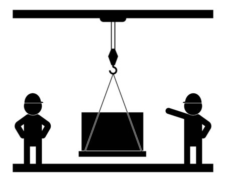 Black and white illustration, builders supervise the work of a crane with a load. Isolated vector