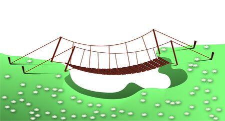 Glade with white flowers and a suspension bridge over a ravine. Illustration in cartoon style