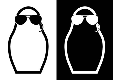 Icon, Russian matryoshka, nesting doll in the image of a special services agent with black glasses and an intercom. Surveillance of the population, special operations. Isolated black white vector Stock Illustratie