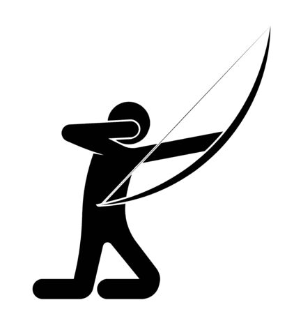 man, an archer shot at a target, kneeling. Shooter athlete. Isolated vector on white background