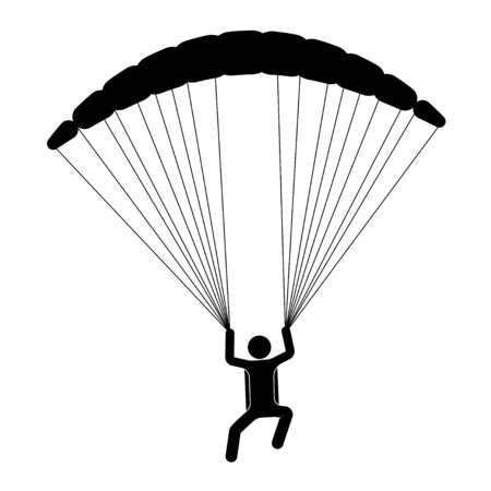 paraglider is flying on a parachute. Strengthens a person. Extreme sport. Isolated vector on white background