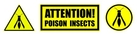Set of yellow black danger signs, attention. The attack of poisonous insects. Isolated vector
