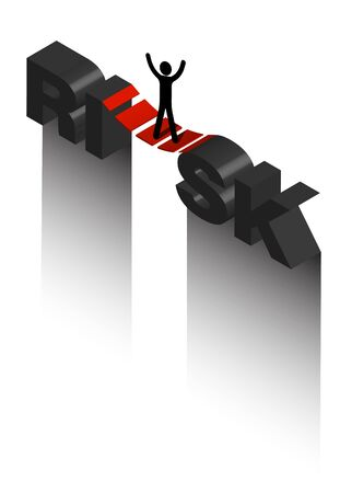 Isometric on the topic of risk, a stick man stands on a suspension bridge over a precipice. Fear of heights. Overcoming fears. Isolated vector Иллюстрация