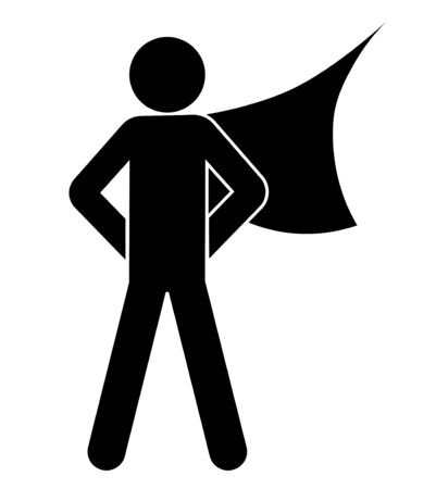 superhero in a hero cloak. Man of courage. Isolated vector on white background