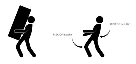 person, a loader incorrectly carries a heavy load, increasing the risk of injury. Isolated vector on white background 일러스트