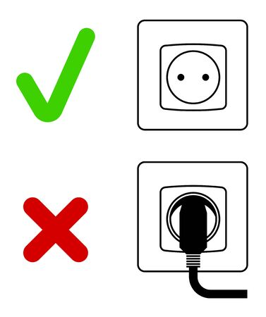 Electric socket with a plug. Electrical appliances left unattended. Saving energy, caring for nature. Isolated vector on white background  イラスト・ベクター素材