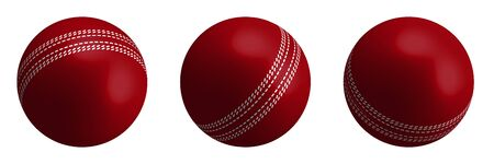 red cricket ball in realistic style on a white background. Summer team sports. 3d vector  イラスト・ベクター素材