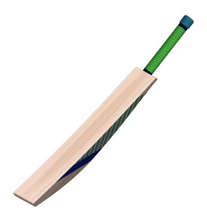 cricket bat in realistic style on a white background. Summer team sports. Vector on a white background 向量圖像