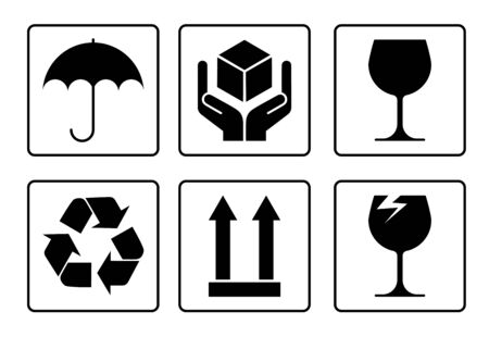 set of packaging symbols for goods. Keep dry, brittle, recycle. Isolated vector on white background