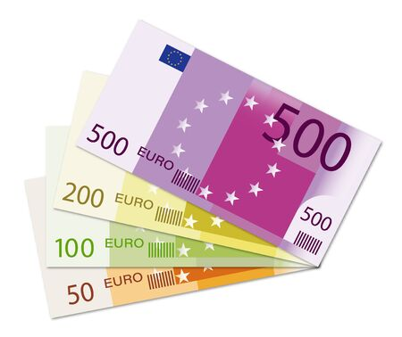 set of banknotes of 500, 200, 100 and 50 euros laid out in a fan. Templates for design. Isolated vector on white background