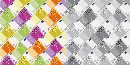 set of seamless patterns with banknotes of 500, 200, 100 and 50 euros Ilustrace