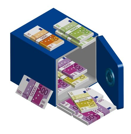 Open steel safe with bundles of Euro money. Stacks of cash. Isometric, isolated vector