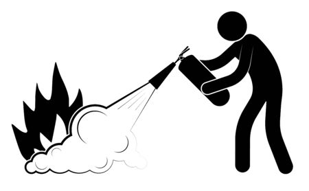 man puts out a fire from a fire extinguisher. Emergency actions. Dangerous professions. Isolated vector on white background Vektorové ilustrace