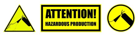 Set of warning signs on a yellow background. Fire extinguisher, hazardous production. Isolated vector on white background