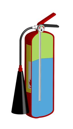 sectional view of a household fire extinguisher in a realistic 3D design. Reuse of equipment. Isolated vector on a white background
