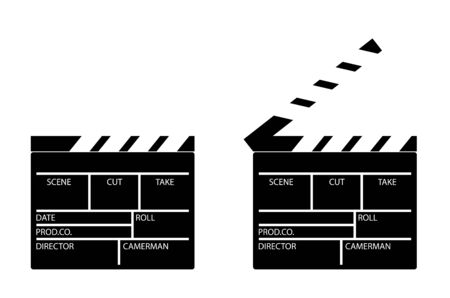 Clapper board for shooting the film in the open and closed position. Assistant director. Black and white icon. Vector