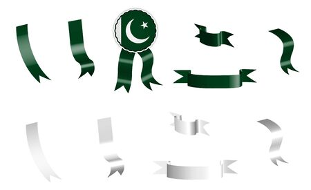 label, set of white and green ribbons with tag, in colors of flag of the Islamic Republic of Pakistan. Isolated vector on white background