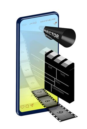 concept of online movie theater inside a smartphone. Directors loudspeaker, clapperboard and film are immersed in the screen. Realistic image of portable devices. Vector illustration