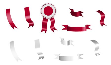 label, set of white and red ribbons with tag, in colors of Japan flag. Isolated vector on white background Ilustracja
