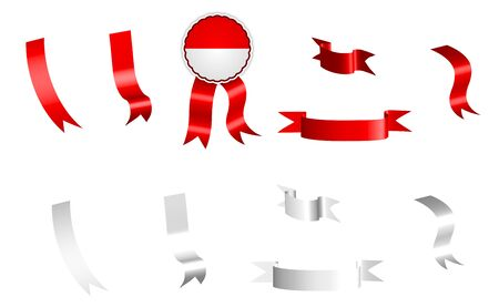 label, set of white and red ribbons with tag, in colors of Indonesia flag. Isolated vector on white background