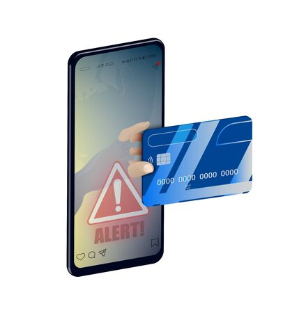 concept of cyber crime, theft of data and money online. The safety of information on the Internet. A hand reaches out from a smartphone to steal a credit card