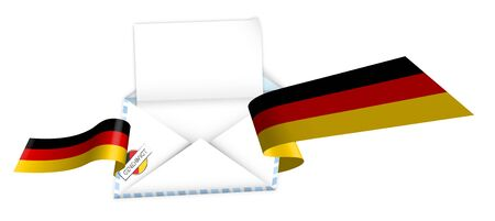 Concept, an open envelope with a blank sheet of paper wrapped in a shiny festive ribbon with elements of German flag. Congratulatory template, information layout