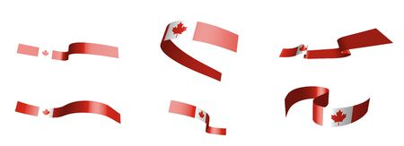 Set of holiday ribbons. Canadian flag waving in the wind. Separation into lower and upper layers. Design element. Vector on a white background Ilustracja