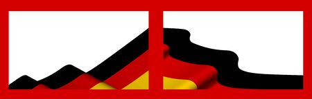 Background, template for festive design. Germany flag waving in the wind. Realistic vector on white background
