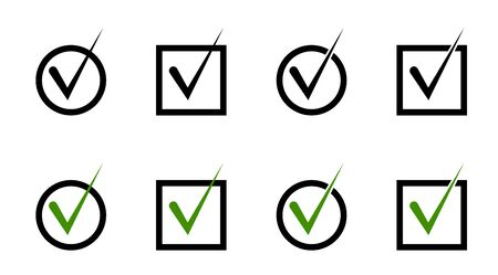 set of windows. Round and square cells for voting. A check mark, a mark about the choice made. Isolated vector on white background Ilustracja