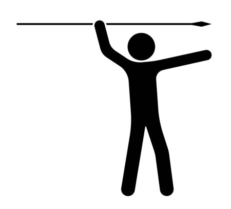 Stick figure, man holds a spear in his hands and waved for a throw. The choice of purpose and direction of movement. Isolated vector on white background Archivio Fotografico - 147860269