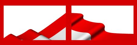 Background, template for festive design. Indonesian flag waving in the wind. Realistic vector on white background