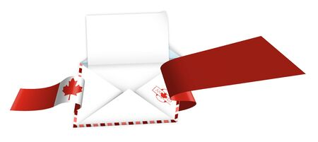 Concept, an open envelope with a blank sheet of paper wrapped in a shiny festive ribbon with elements of Canadian flag. Congratulatory template, information layout
