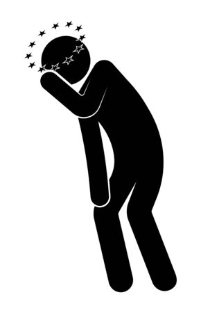 stick figure, man leaned over and holds his head. Dizziness, stars fly overhead, feeling unwell. Isolated vector on white