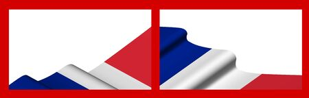 Background, template for festive design. French flag waving in the wind. Realistic vector on red background Ilustracja