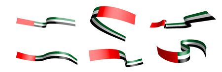 Set of holiday ribbons. Flag of  United Arab Emirates waving in the wind. Separation into lower and upper layers. Design element. Vector on a white background