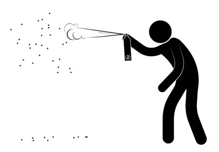 stick figure, man poisons a swarm of dangerous insects from a gas spray. Attack of wasps and bees on people. Isolated vector on white background