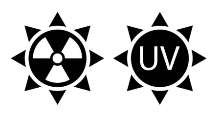 black and white sign of high solar activity. Increased ultraviolet radiation. Protection against sunburn. Isolated vector on white background