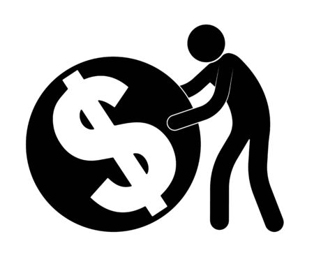 stick figure, man rolls a dollar coin, accumulation. Passion, worship of money and wealth, greed. Isolated vector on white background 矢量图像
