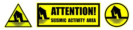 set of danger signs on a yellow background earthquake shocks.  Increased seismic activity. Attention. Isolated vector on white background