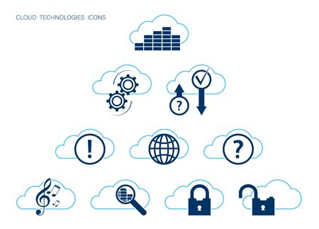 Set of icons with modern cloud technology. Search, download, storage and data protection, remote configuration of devices, multimedia. Vector on a white background